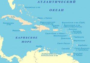 Карта Карибского региона