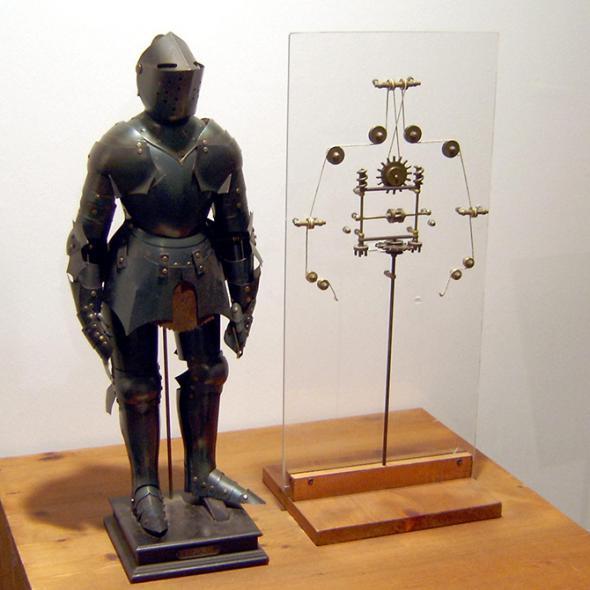 Модель механического человека и схема внутреннего строения
